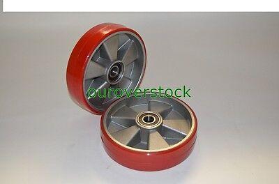 Pair of Brand New Pallet Jack Steer Wheels Poly / Aluminium 8 x 2 w/bearings
