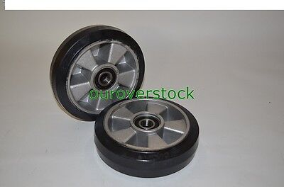 Pair Of Brand New Pallet Jack Steer Wheels Rubber Tread Aluminium Core