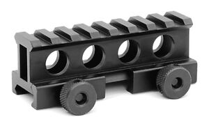 AR FLAT TOP 1 INCH COMPACT RISER MOUNT 8 SLOT PICATINNY RAIL WITH THUMB SCREWS