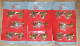 15 x DALE ARCHITECTURAL HARDWARE BRASS MOPSTICK RAIL BRACKETS HAND RAIL 63mm FIX