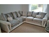 BRAND NEW SHANNON CRUSH CORNER SOFA / SWIVEL AVAILABLE IN SILVER AND WHITE