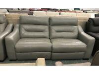 Grey leather recliner La Z Boy 3 seater sofa