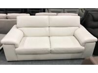 Stylish high retail white leather sofa