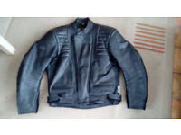 """Leather man's motorcycle jacket.Top quality Weise. Allegedly 44"""" chest but see description please.."""