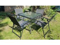 Garden Table, Umbrella & 4 Chairs - some items still in packaging