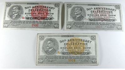 1933 Ringling Brothers Circus Baraboo Wisconsin Scrip 5, 10 & 15 Cent Unc. Notes