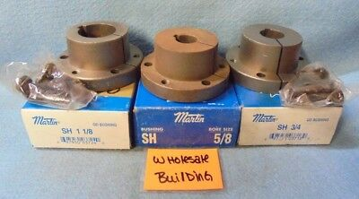 """MARTIN QUICK DISCONNECT BUSHING SIZE: SH, LOT OF 3, BORES: 5/8"""", 3/4"""", 1-1/8"""""""