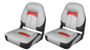 PAIR (2)  x LUXURY MARINE SPEED BOAT CRUISER SEATS 76223 Grey/Charcoal/Red