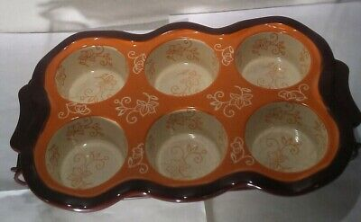Temp-tations By Tara Old World Muffin Pan with Cooling Display Rack Orange Brown
