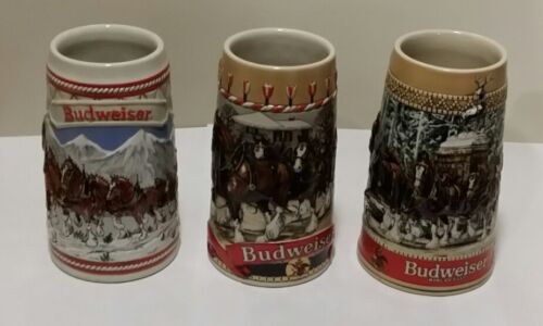 1985, 1986, and 1987 Budweiser Holiday Steins