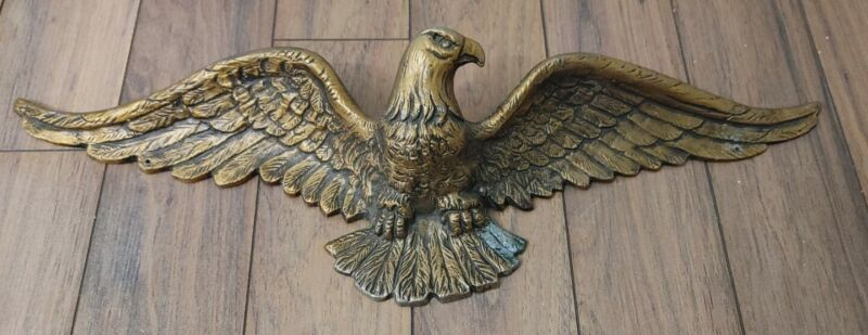 "Vintage Gold Painted Cast Metal Eagle 21"" Wide"