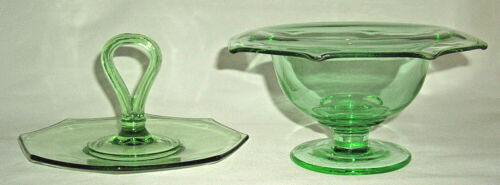 2 Pieces of Green Depression Glass Octaganol Footed Mayonnaise and Tid Bit Tray