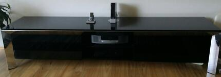 Entertainment unit TV cabinet black high gloss glass top AS NEW Lane Cove Lane Cove Area Preview