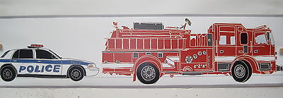 Fire Engines Police Cars School Bus Mail Trucks Cars Wallpaper Border 6