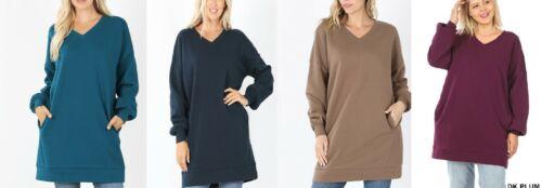 Zenana Long Sweatshirt Tunic Pullover Side Pockets Asst. Colors S M L XL 1X 2X