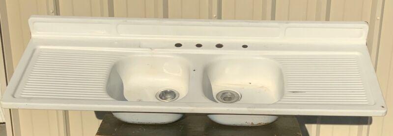 Vintage Original Double Basin Drainboard Sink