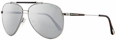 Tom Ford Sunglasses Rick TF 378 Silver Mirror 14Q Aviator Ruthenium (Tom Ford Aviator Sunglasses Men)