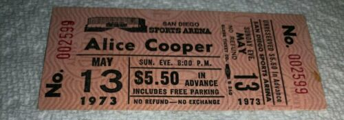 ALICE COOPER UNUSED MAY 13, 1973 CONCERT TICKET SAN DIEGO SPORTS ARENA Free Ship