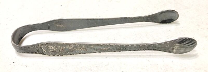 Antique Vintage 19C.England George Burrows Engraved Sterling Silver Sugar Tongs