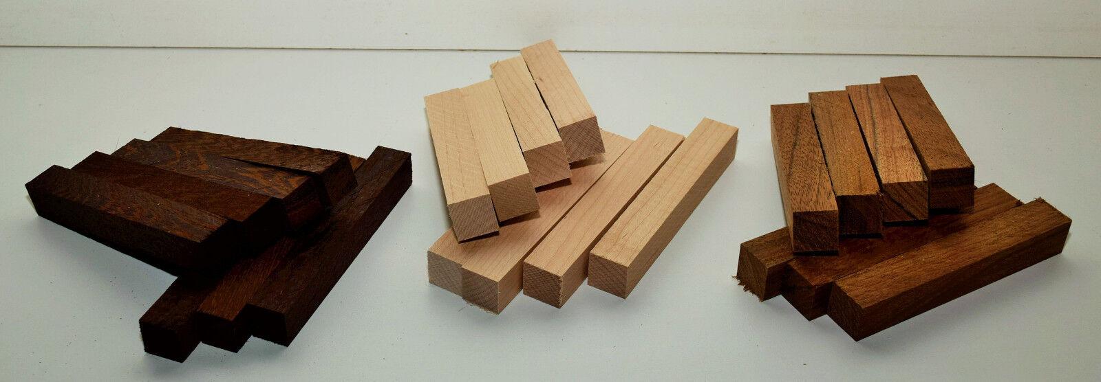 22 Penblanks 13x2x2cm Drechselholz Holz für Schmuck Bastelholz Stift Rohling