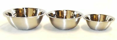 3 Large Wide Stainless Steel Mixing Bowls 8 , 5 , 3 qt Quart Flat Bottom NEW -