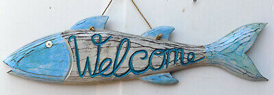 Fishes Fish Decorative Wooden Welcome cm 58x15 Turquoise Blue Marine Sea
