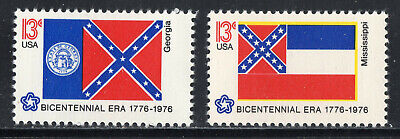 GEORGIA AND MISSISSIPPI STATE FLAGS  *  Vintage U.S. Postage Stamps MNH