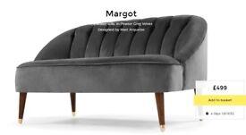 NEW! MADE. com MARGOT 2 seater Sofa Pewter Grey Velvet Notts