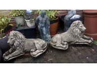 TWO VERY LARGE MASON CRETE LIONS LYING DOWN GOOD CONDITION