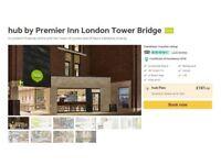 1 x double room, London Bridge Hotel, Hub Hotel ( by Premier Inn) Saturday 23 June.