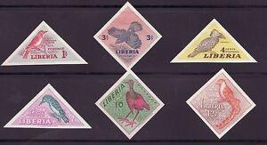 Liberia-341-46-MNH-Complete-IMPERF-Set-Fauna-Birds-Triangle-CV-20