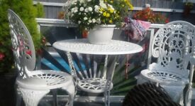 Real cast iron table chairs