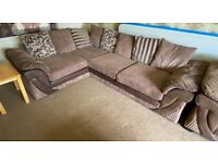 DFS right hand Corner Sofa, Armchair & Storage Footstool in Mocha
