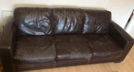 Brown 3 seater and 2 seater sofa