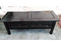Black Painted Corona Pine Coffee Table With 2 Storage Drawers, Side Table, Furniture