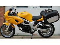 1999 SUZUKI SV 650 S YELLOW WITH LUGGAGE SIDE PANNIERS