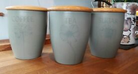 Johnson Brothers Aurora collection canister set. Sage stoneware with wooden lids.