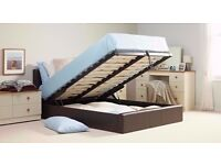 Cheapest Offer!NEW DOUBLE LEATHER STORAGE OTTOMAN GAS LIFT BED FRAME- MATTRESS - SINGLE/KINGSIZE