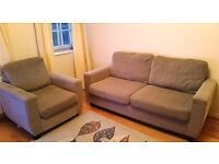 Large 2 seater fabric sofa + 1 seater in mint condition