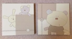 Mamas and Papas Baby Nursery Room Decor Canvas Pictures (x2)