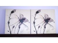 Two Mauve Floral Pictures - £7 each or £12 for 2