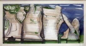 Mixed media painting by Ken Frewin. Cliffs at Etretat