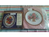 Two new counted cross stitch kits with flexi-hoops. No threads included. Pictures are of flowers.