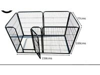 Sturdy dog pen, easily assembled. Fits dog's bed or crate and room to spare. Safe space to leave pet