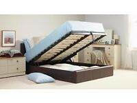 BRAND NEW DOUBLE FAUX OTTOMAN LEATHER STORAGE BED FRAME WITH MATTRESS, DOUBLE and SINGLE AVAILABLE