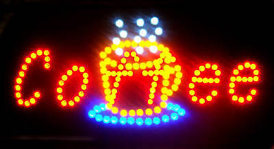 Ultra Bright Led Neon Light Animated Motion Coffee Cup Open Sign L47