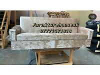 3 seater bed settee in cream crushed velvet with storage