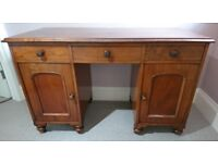 Antique c.1860 Mahogany Kneehole Desk - has been in the family for 40+ years