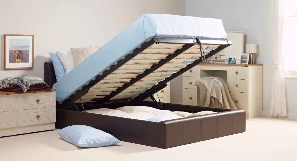 NEWLY ARRIVED BRAND NEW LEATHER STORAGE DOUBLE &KING BEDS WITH MEMORY FOAM ORTHOPEDIC MATTRESS RANGE
