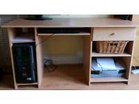 Beech effect desk with keyboard shelf and drawer